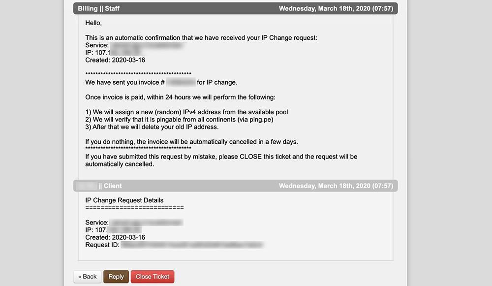 搬瓦工IP更改工单