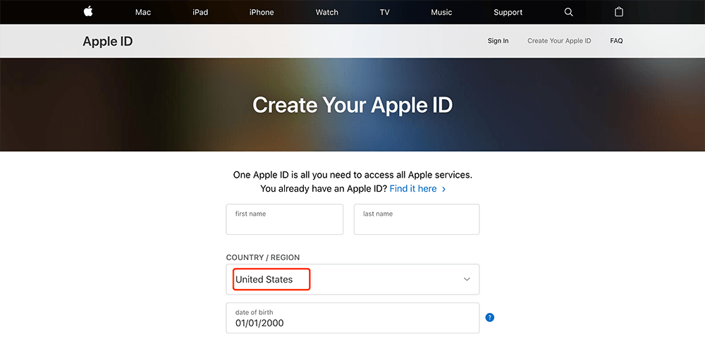 apple官网创建账户