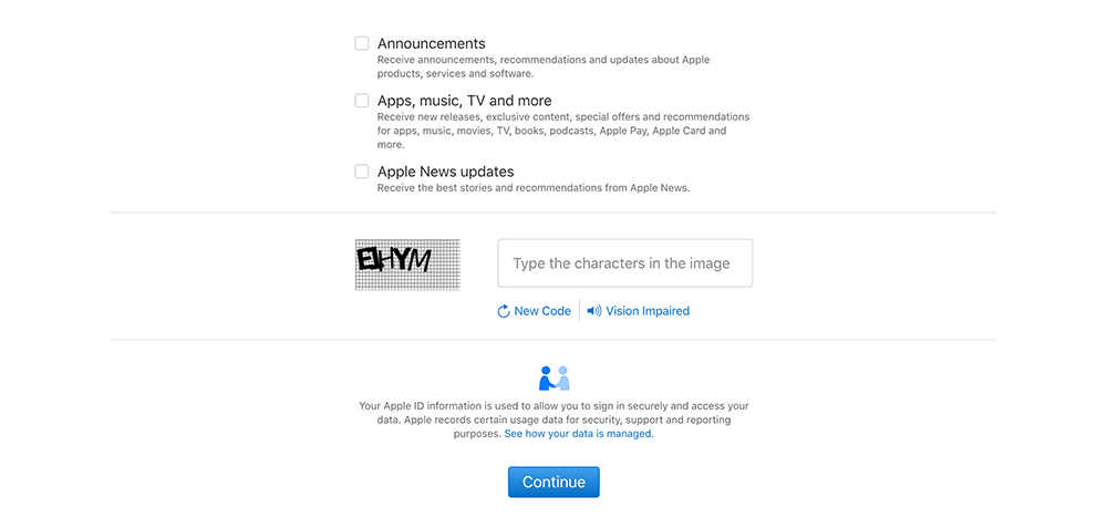 apple提交注册信息