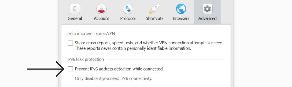 expressvpn开启IPv6泄露保护