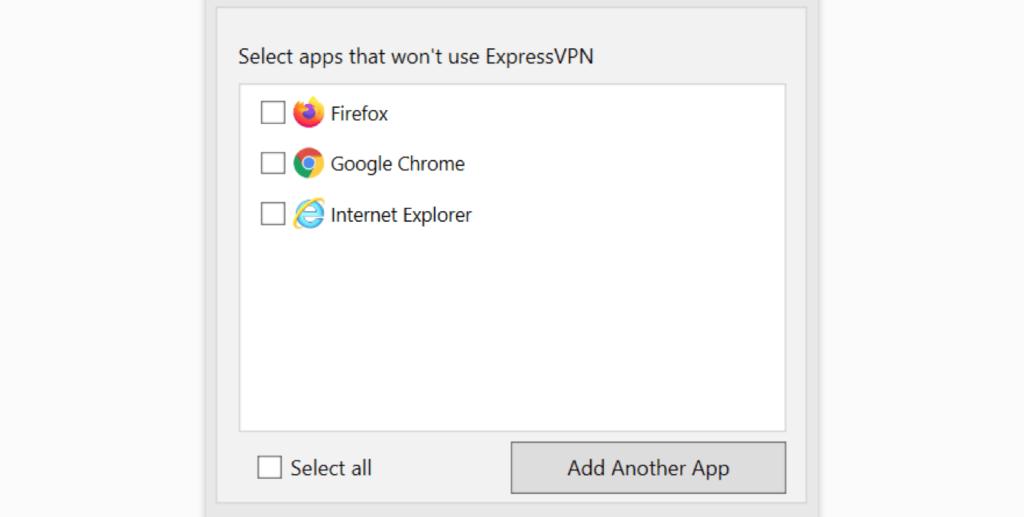 expressvpn隧道分离功能搜索应用