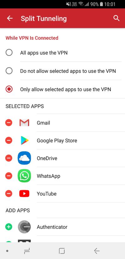 expressvpn-android-隧道分离选择应用