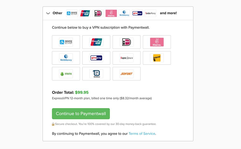 ExpressVPN支付宝付款方式