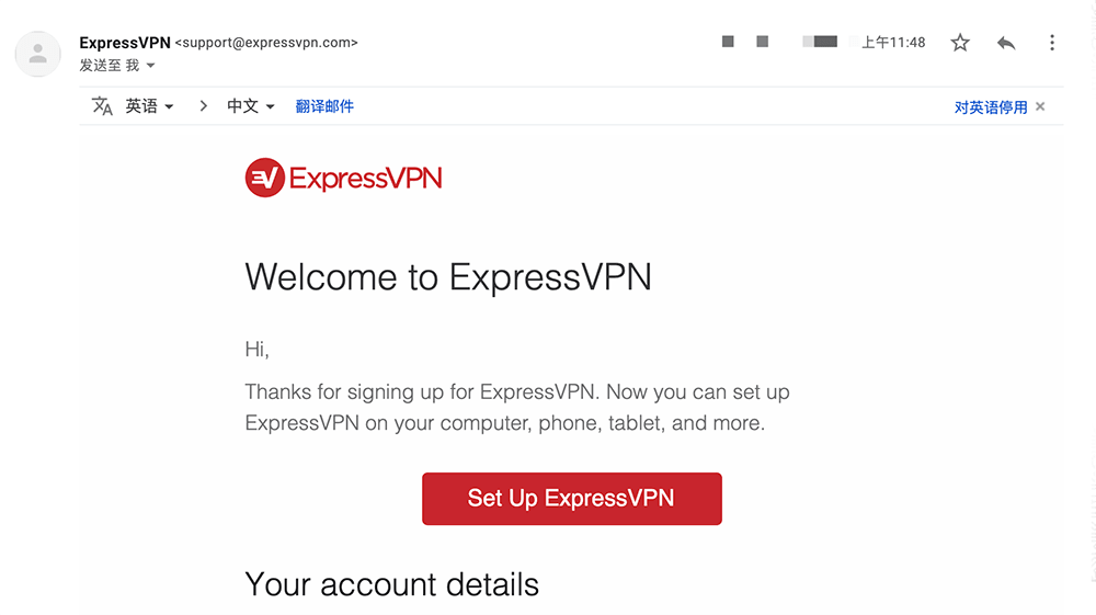 expressVPN付款成功