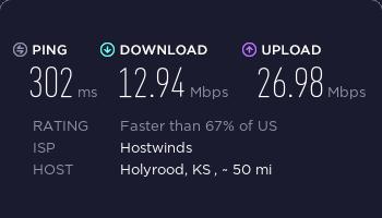hostwinds美国西雅图SSR节点夜间速度测试