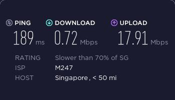 vpncity新加坡服务器ss速度测试